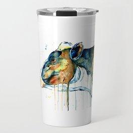 Dairy Cow - Feeling Blue - Watercolor Painting Travel Mug