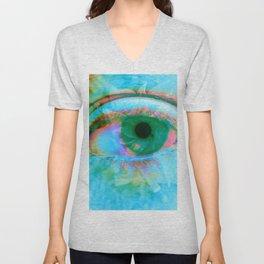 Eye in Bloom [Blue] Unisex V-Neck