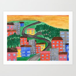 The Town On A Hill Art Print