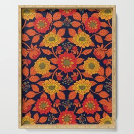 Vibrant Yellow, Red, Orange, Blue & Navy Floral Pattern Serving Tray