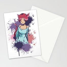 Neko Girl Splatter Stationery Cards