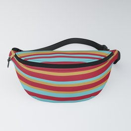 Golden, Red Wine and Turquoise Vintage Stripes Fanny Pack