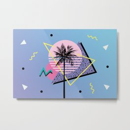 Memphis pattern 46 - 80s / 90s Retro / Palm Tree Metal Print