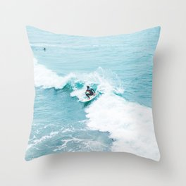 Wave Surfer Turquoise Throw Pillow