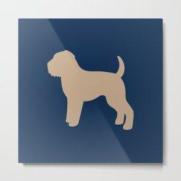 Wheaten Terrier (Navy/Tan) Metal Print