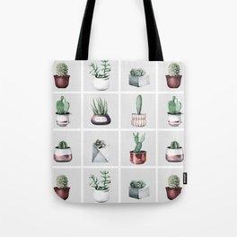 Cactus Bunch Grid Rose Gold Gray Green Tote Bag