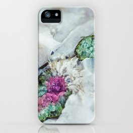 Colorful watermelon tourmaline crystal, macro #society6 iPhone Case