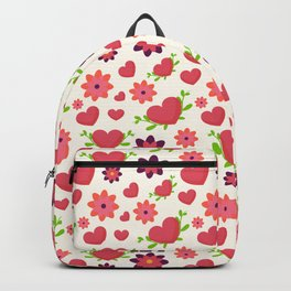 Valentine design. Red hearts on white. Doodle handmade hearts. Backpack