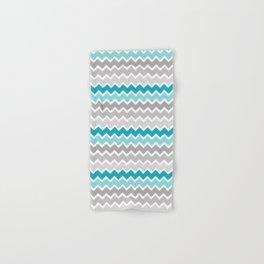 Turquoise Teal Blue Gray Chevron Hand & Bath Towel