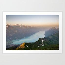 Panorama from Brienzer Rothorn at sunrise, Switzerland Art Print