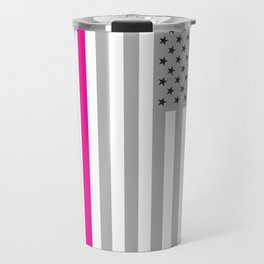American Flag Pink Ribbon Breast Cancer Awareness Travel Mug