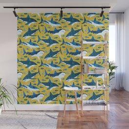 Sharks On Mustard Wall Mural