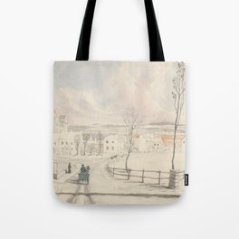 Vintage Montpelier Vermont Watercolor Painting (1841) Tote Bag