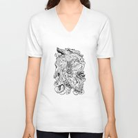 berserk V-neck T-shirts featuring THE HOUND - WHITE by SOMNIVAGRIOUS
