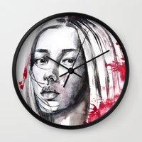 asia Wall Clocks featuring asia by Lua Fraga