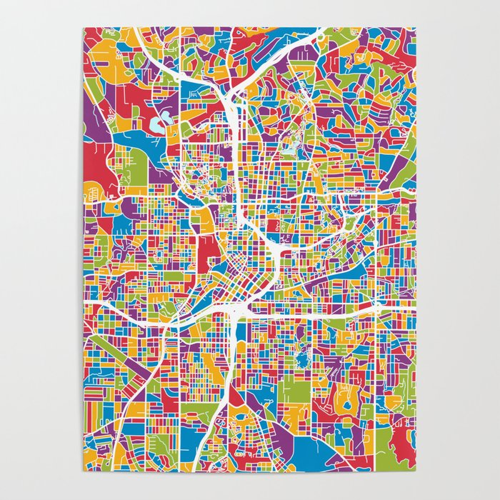 Map Of Atlanta Georgia Area.Atlanta Georgia City Map Poster By Artpause