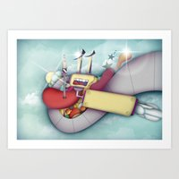 spaceship Art Prints featuring Spaceship by Mowis