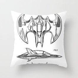 Batwing Patent - Bat Wing Art - Black And White Throw Pillow