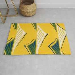 Palm Leaves Japanese Shima-Shima Pattern Rug