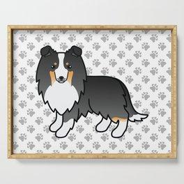 Tricolor Shetland Sheepdog Dog Cartoon Illustration Serving Tray