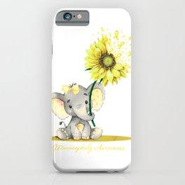 MICROCEPHALY AWARENESS Cute Elephant Sunflower Yellow T-Shirt iPhone Case