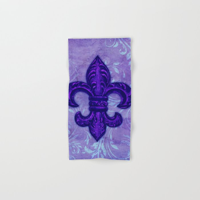 Purple Fleur De Lis Hand Bath Towel By Glimmersmith Society6