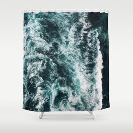 Green Seas, Yes Please Shower Curtain
