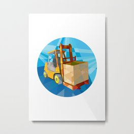 Forklift Truck Materials Box Circle Low Polygon Metal Print