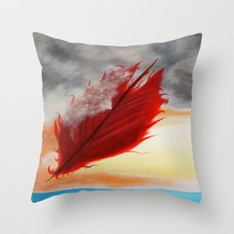 A RED FEATHER BLOWS NORTH Throw Pillow