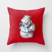 snowman Throw Pillows featuring Snowman  by Svetlana Korneliuk