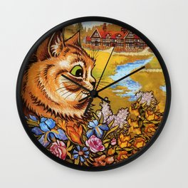 Country Cottage Cat - Louis Wain Cats Wall Clock