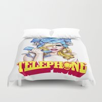 telephone Duvet Covers featuring Telephone by Denda Reloaded