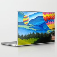 hot air balloons Laptop & iPad Skins featuring Acrylic Hot Air Balloons by Megan White