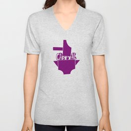 Capitalism crushed by anvil and hammer (purple) Unisex V-Neck