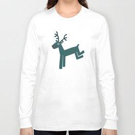 Reindeer-Teal Long Sleeve T-shirt