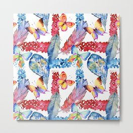 Abstract pink blue watercolor butterfly boho floral pattern Metal Print