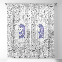 Doodle Cute Creatures Galaxy Space Sheer Curtain