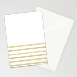 White and Gold Stripes Stationery Cards