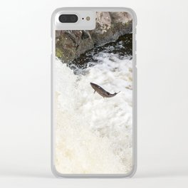 Leaping Atlantic salmon salmo salar Clear iPhone Case