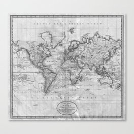 Black and White World Map (1801) Canvas Print
