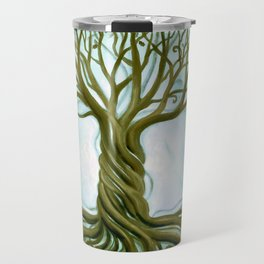 Blue and Brown Swirly Tree of Life by Renee Womack Travel Mug