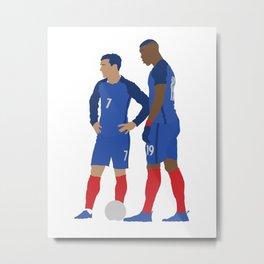 Griezmann & Pogba France Print Metal Print