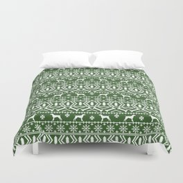 German Shorthair Pointer fair isle christmas holidays dog breed pattern green and white Duvet Cover