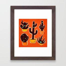 Cat//Cactus Framed Art Print