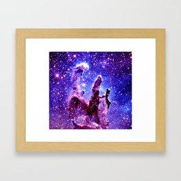 Galaxy Nebula : Pillars of Creation Purple Blue Framed Art Print