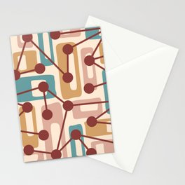 Mid Century Modern Atomic Nucleus Pattern 432 Stationery Cards
