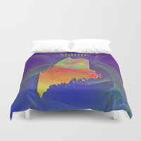 maine Duvet Covers featuring Maine Map by Roger Wedegis