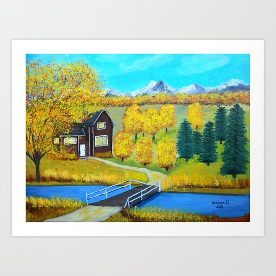 over the wooden bridge  Art Print