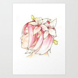 Sakura & Lilies Art Print