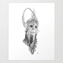 """Decrepit Seer"", old witch and familiar Art Print"